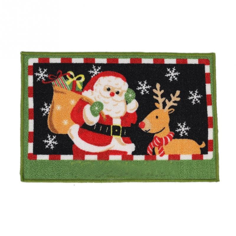Hot Sale Festival Decorative Santa Claus Christmas Deer Mats Doormat Floor Non Slip Rug Christmas Decoration(China (Mainland))