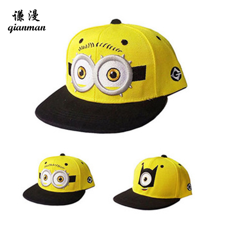 Minions Despicable Me kids baseball cap adjustable boys girls embroidery flat hip hop snapback children fashion golf cap sun hat