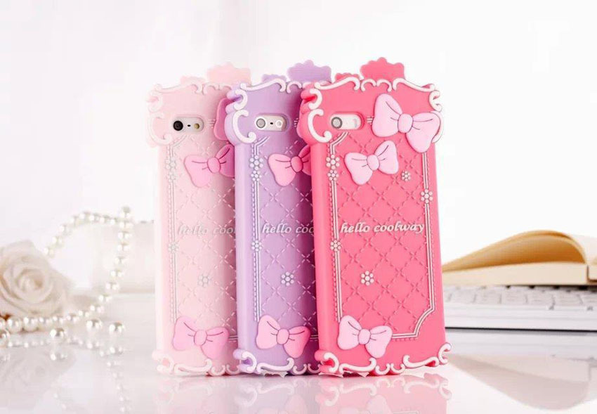 1pcs/lot Silicone Soft Case 3D Cartoon Bow Cute Hello Kitty Phone Case For iPhone 4 4S 5 5S 6 Free Shipping hot selling(China (Mainland))