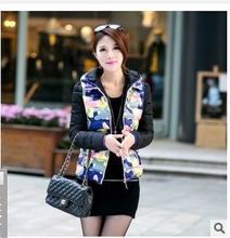 Free shipping !!The new 2015 han edition eiderdown cotton women's cotton short hooded camouflage winter clothing