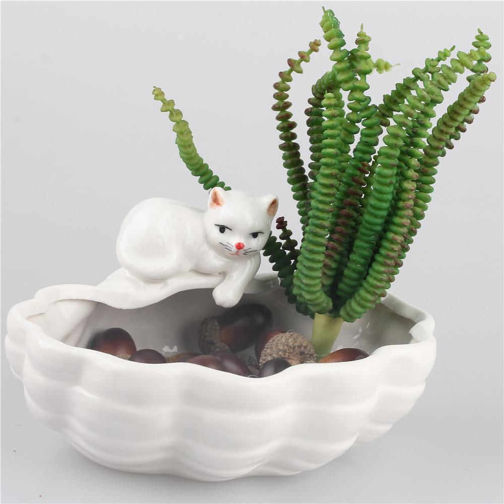 Cute cats kitten ceramic flower pot bonsai pottery planters novelty planters garden porcelain for Decoration jardin pot