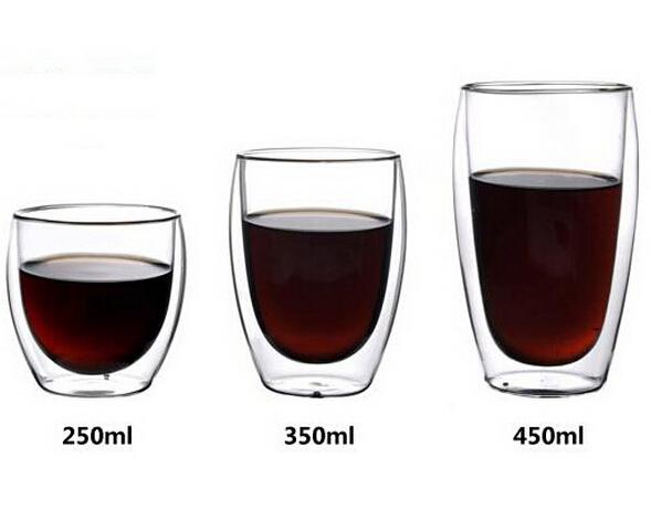 6pcs wholesale Bodum 80ml /250ml /350ml /450ml tea Pavina Double Wall Espresso reusable Glass Coffee Cup Double Wall Glass cups(China (Mainland))