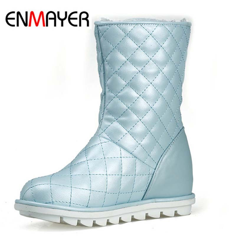 ENMAYER New Arrive Women Boots Round Toe White Autumn Winter Fashion Ankle Boots for Women Motorcycle Boots College Style<br><br>Aliexpress