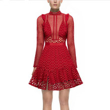 Buy SP New Spring Summer Vintage Hollow Red Lace Dress Slim Stand Collar Long Sleeve Perspective Short Formal Party Dress for $37.83 in AliExpress store