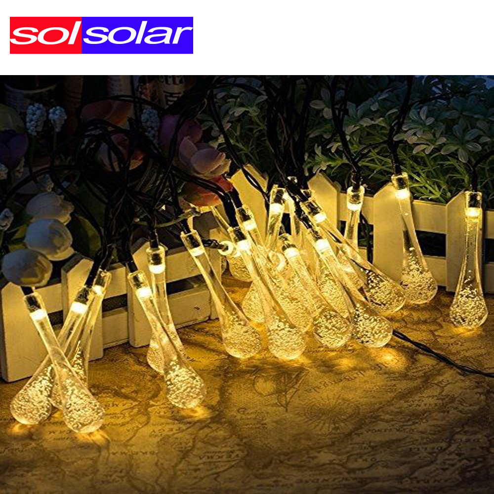 LED Fairy Light 20 LED Solar Powered Water Drop String Lights for Wedding Christmas Party Festival