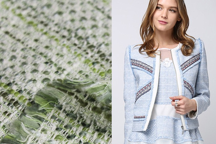 100*145cm High grade imported light green mood woolen tweed wool fabric woven fabrics winter clothing fabric free shipping