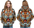 Wild Animal Pattern Hooded Pullover Colorful Cartoon Tiger Sweatshirt Autumn Winter Full Sleeves Skateboard Hoodies Women