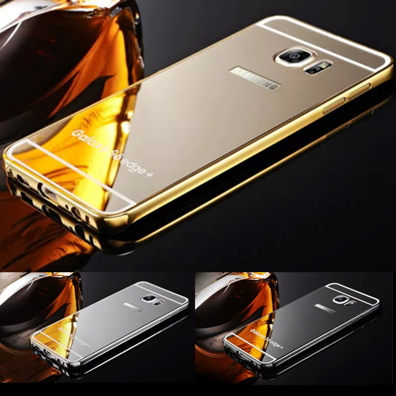 Hot Aluminum Frame Acrylic Back Cover For Samsung Galaxy S6 edge plus Mirror Case Luxury Fundas For Samsung S6 plus edge Capa(China (Mainland))