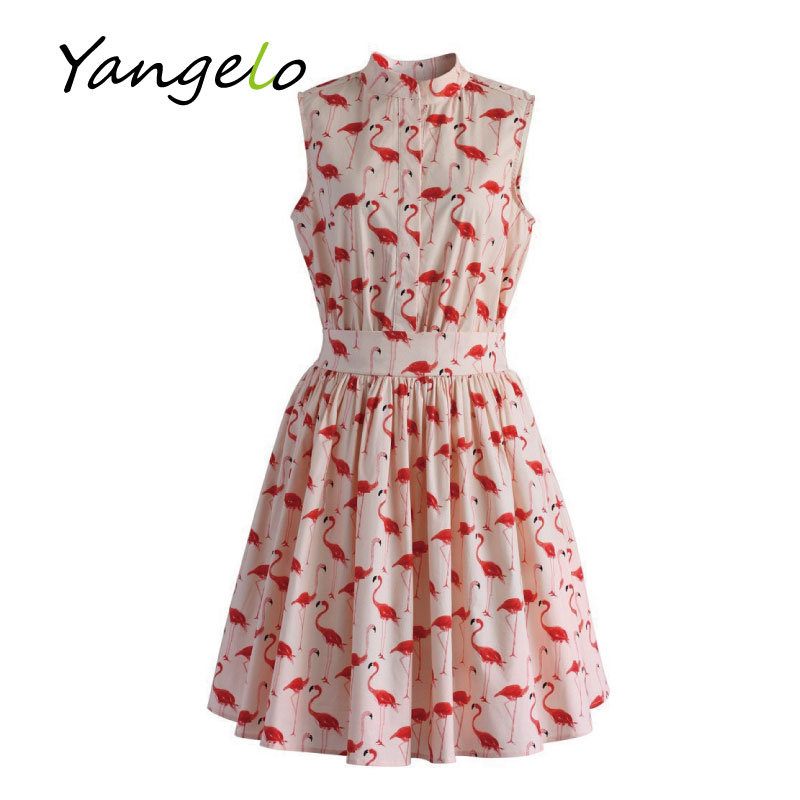 Vestods Summer Style 2016 Women Dress Flamingo Fun Flare Prints Casual High Waist Cute A Line Mini Dress(China (Mainland))