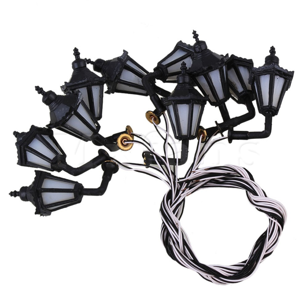Mxfans Black Scale 1:100 LED Lamppost Wall Light Lamps Model Metal Plastic Pack of 10(China (Mainland))