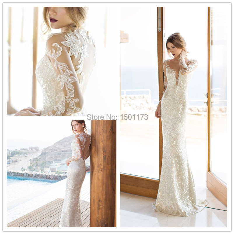 Julie Vino Israel 09 bridal gown v neck long sleeve lace wedding dresses 2014 white dress - Dreamwear Couture store