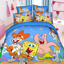 popular 3d spongebob boys twin/single size bedding set of duvet cover bed sheet pillow case 2/3pcs bed linen set/blue