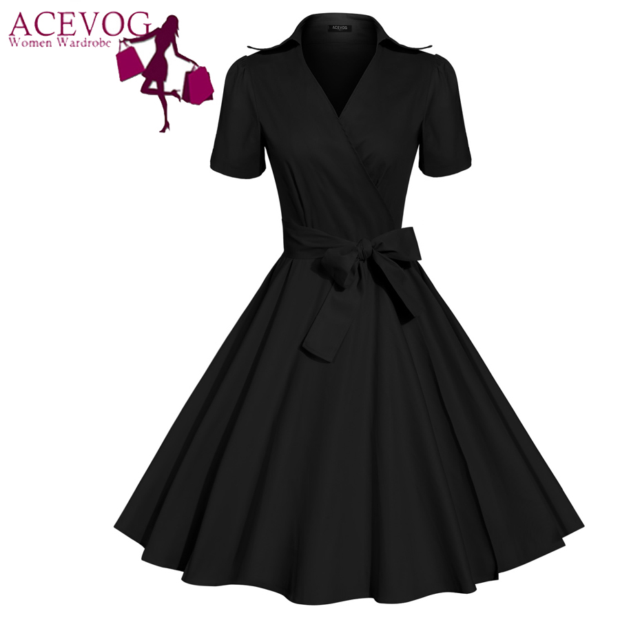 ACEVOG Brand Women Dress 2016 Newest Fashion Vintage Tunic Casual Summer Mid Calf  Long Swing Dresses For Lady Elegant ClothingОдежда и ак�е��уары<br><br><br>Aliexpress