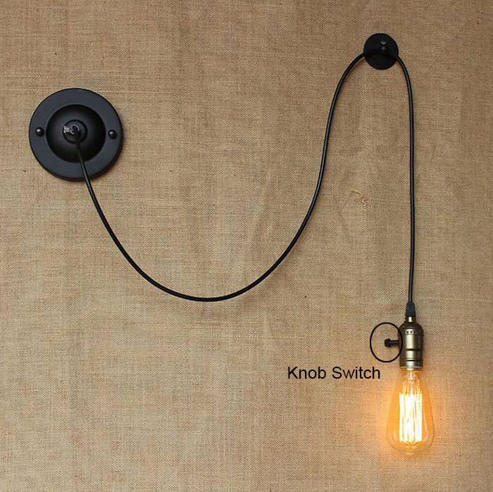 Bedside Reading Studying DIY art decor industrial wall lights luminaire Knob Switch loft Wall