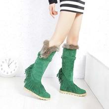 Todos los nuevos mujer cuero nobuck botas de piel de conejo mantener más cálido botas de pierna resistencia al deslizamiento antidesgaste invierno botas zapatos de la nieve E-95(China (Mainland))