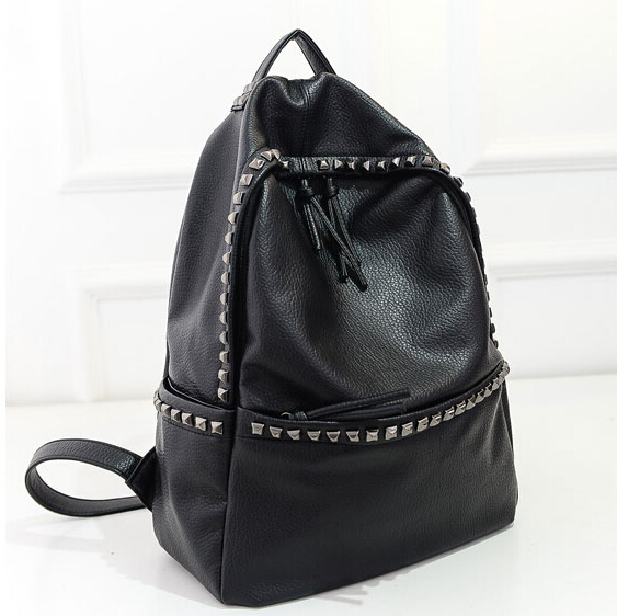 2016 Fashion Women Backpacks Rivet Black Soft Washed Leather Bags Shoulder Schoolbags For Girls Female Outdoor Travel Sports Bag(China (Mainland))