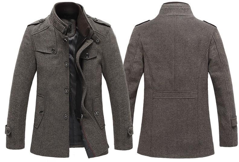 Brand new thick fall winter Men wool trench coat quality men blends winter men's jacket long wool coat men(China (Mainland))