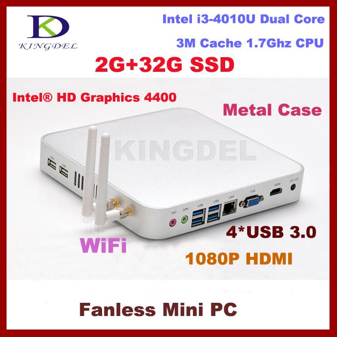 Windows 7 thin client mini pc with 2GB RAM+32GB HDD Intel i3 Dual Core Quad Threads with USB 3.0 VGA HDMI fanless+metal case(Hong Kong)