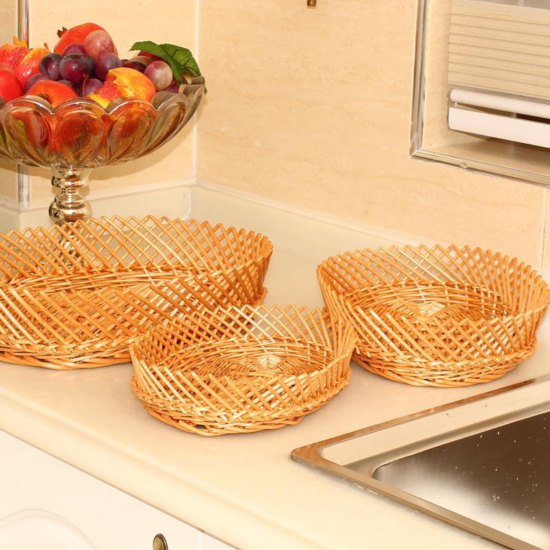 set of 3 storage box food organizer stylish serving tray wicker picnic basket make up organizer fruit tray bread tray(China (Mainland))