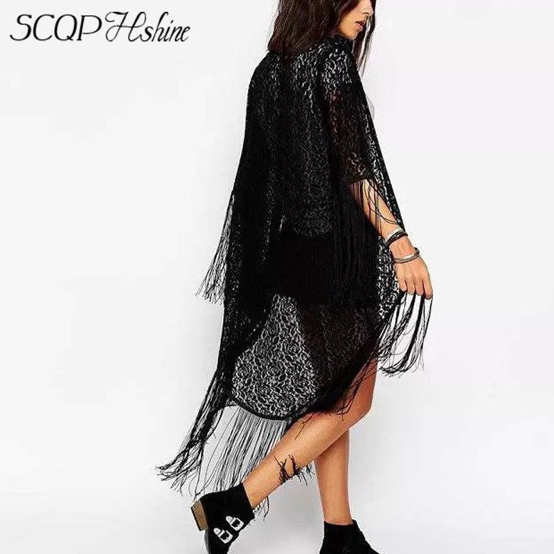Черный женщины кружево кимоно лето длинный рукав кардиган элегантный женщины одежда полые кисточка дамы блузка ну вечеринку топы
