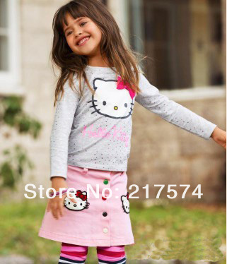 In Stock Hello Kitty Set Wholesale 5pcs/LOT 2013 Hello Kitty Girls Long Sleeve Tshirt+Mini Print Skirt Kids Clothing 90-130cm