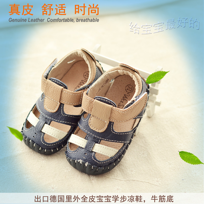 2015 genuine leather baby toddler shoes male female child cowhide surface pigskin cow muscle outsole infant summer sandals(China (Mainland))