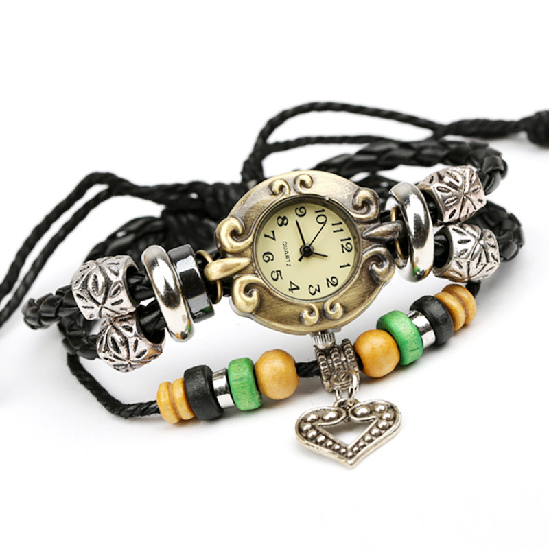 watch The new factory direct beaded leather bracelet watch retro leather bracelet jewelry wholesale export table 2015(China (Mainland))