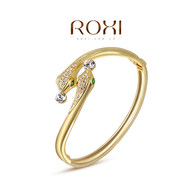 ROXI Jewelry 18K Gold Plated Fashion Austrian Crystal Snake Bangle for Women 2050011720(China (Mainland))