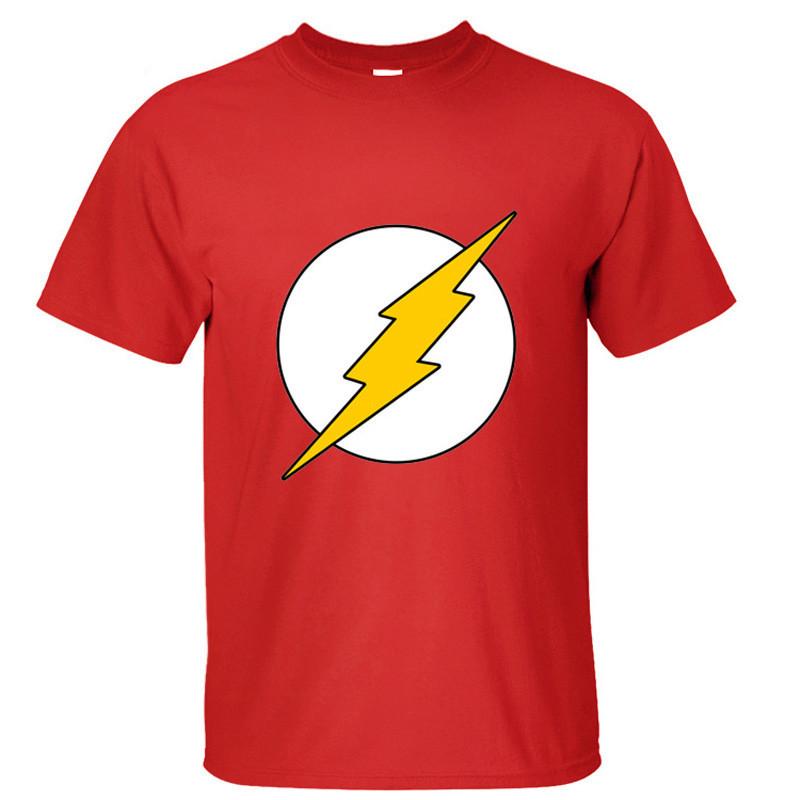 Superhero the Flash The Big Bang Theory Sheldon Cooper Cosplay Cotton T Shirts Men O Neck Top(China (Mainland))