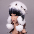 Genuine fur earmuffs hat new natural Rabbit fur hats with fox fur cap high quality women