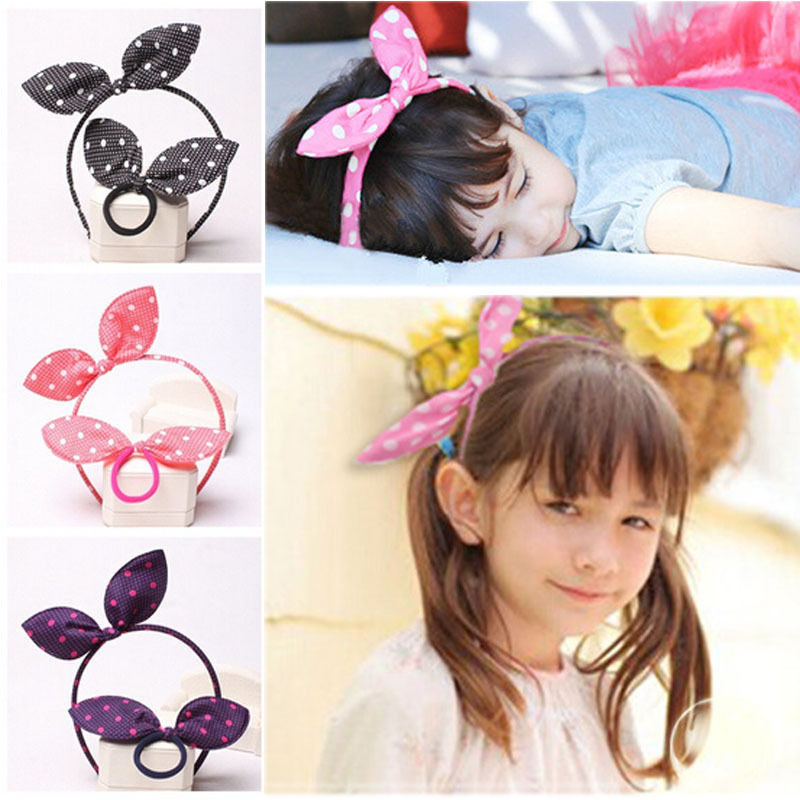 1 Set Fashion Baby Girls Dot Print Bunny Ear Headband With Hair Ropes Toddler Kids Cute Hairband(China (Mainland))