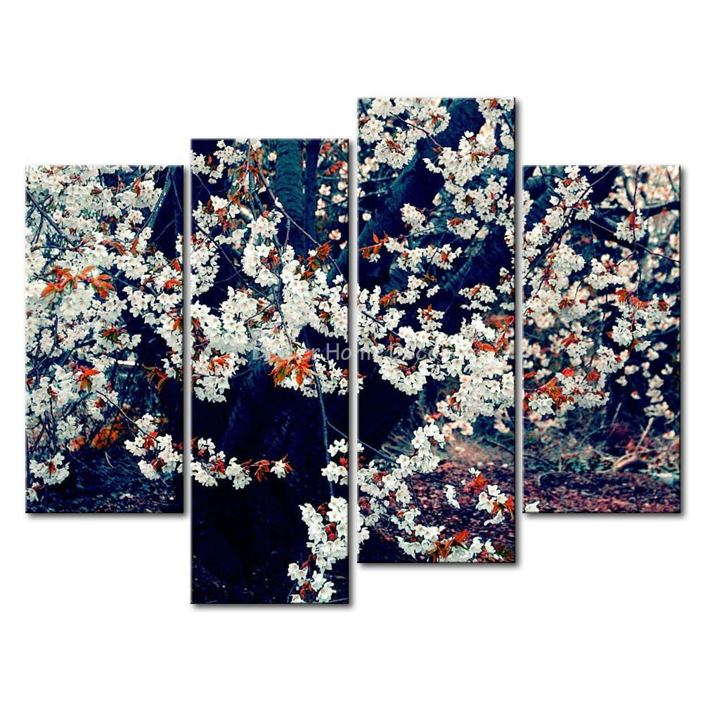 3 Piece Wall Art Painting White Blossoming Tree Picture