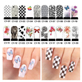 5pcs Hot Water Transfer Nail Art Stickers Flowers Bow Design Manicure Decoration Tools Full Cover Nail