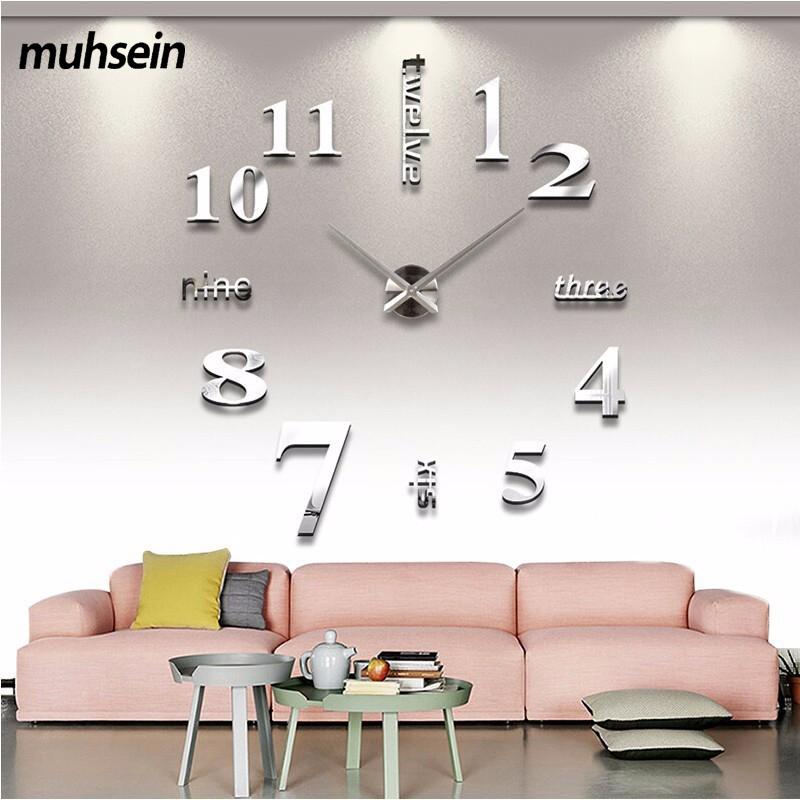 2017 Super Big DIY Wall Clock Acrylic+EVR+Metal Mirror Super Big Personalized Digital Watches Clocks Freeshipping 130cm x 130 cm(China (Mainland))