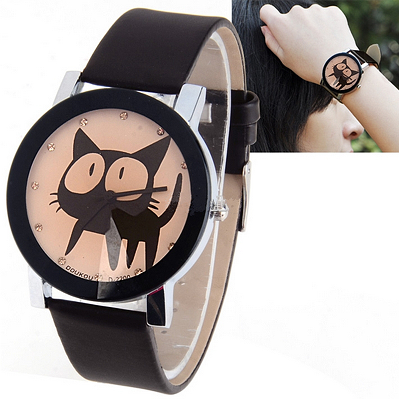 Cute Watch fashion hot hello kitty pu leather watches women mujer relojes Lovely big eye cat face student watch.Free shipping(China (Mainland))