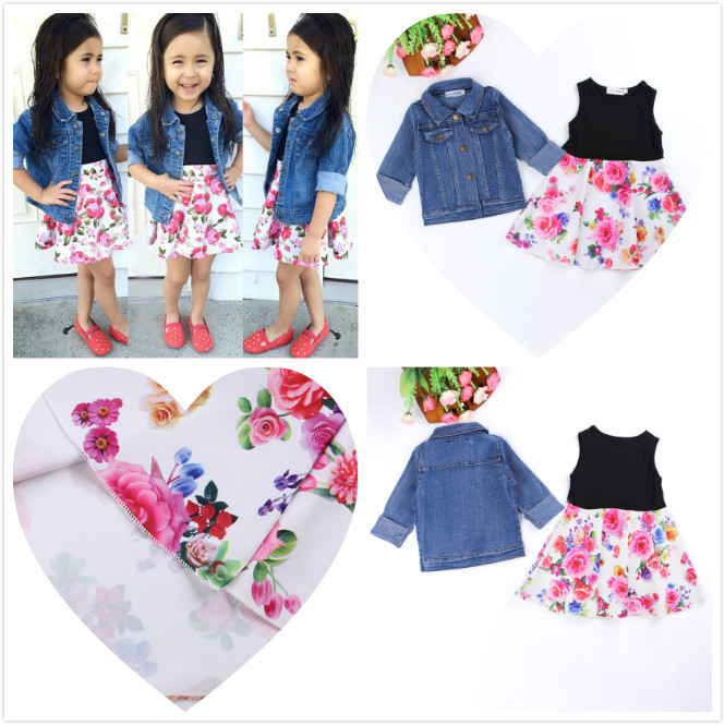 Retail Summer Style kids clothes Trendy girls clothing set 2pc set (denim coat+floral dress) fashion outfit for girls(China (Mainland))