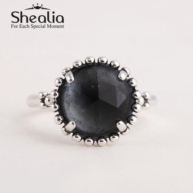 2015 новый большой midnight-синего циркон кольца 925 серебряные обручальные кольца для женщин известный бренд ювелирных изделий SH0564