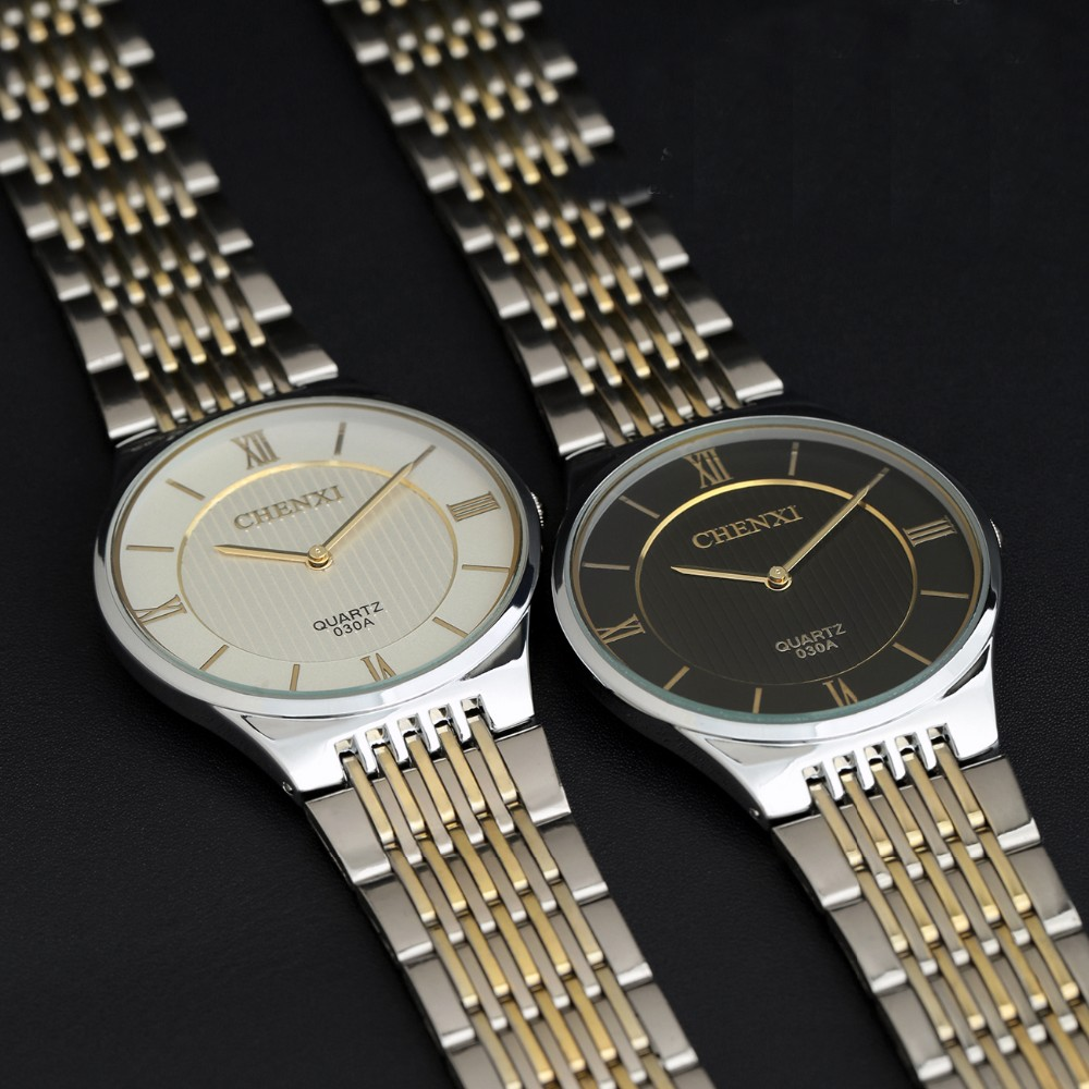 Новый мужчины Простой Часы ультратонкий luxury brand платье часы профессия мода повседневная стали золото кварцевые старинные марки наручных часов