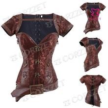 Gothic Steampunk Corsets Brown Brocade Plus Size Waist Training Corset Underbust Steel Boned Waist Trainer Women Sexy Bustier