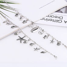 Summer Boho Turtle Shell Conch Star Silver Anklets For Women Small Circle Anklet Bracelet On The Leg Bohemian Foot Ocean Jewelry(China)