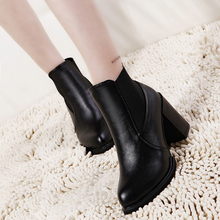 2015 Spring Autumn Women Boots Platforms Square Heel Ankle Boots Paint Leather Boots Fashion Motorcycle Boots Metal Decoration