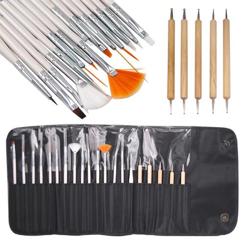 Professional 20Pcs/Set Nail Art Design UV Gel Salon Painting Drawing Pen Nail Brush & Nail Dotting Pen Nail Tools Set(China (Mainland))