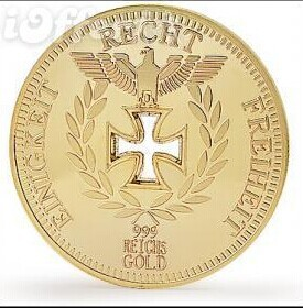 COLLECTORS 24K GOLD PLATED 1888 REICHSBAN AACHEN COIN 10pcs/lot free shipping wholesales german coin(China (Mainland))