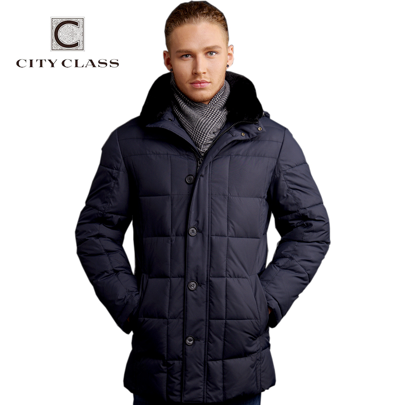 CITY CLASS New men fashion casual  down feather removable rabbit collar free shippingОдежда и ак�е��уары<br><br><br>Aliexpress