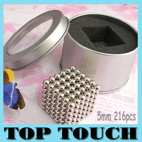 Hot Sale 216pcs Diameter 5mm Buckyballs Neocube Magic Cube Puzzle Magnetic Magnet Balls Spacer Beads Education Toy With Gift Box(China (Mainland))