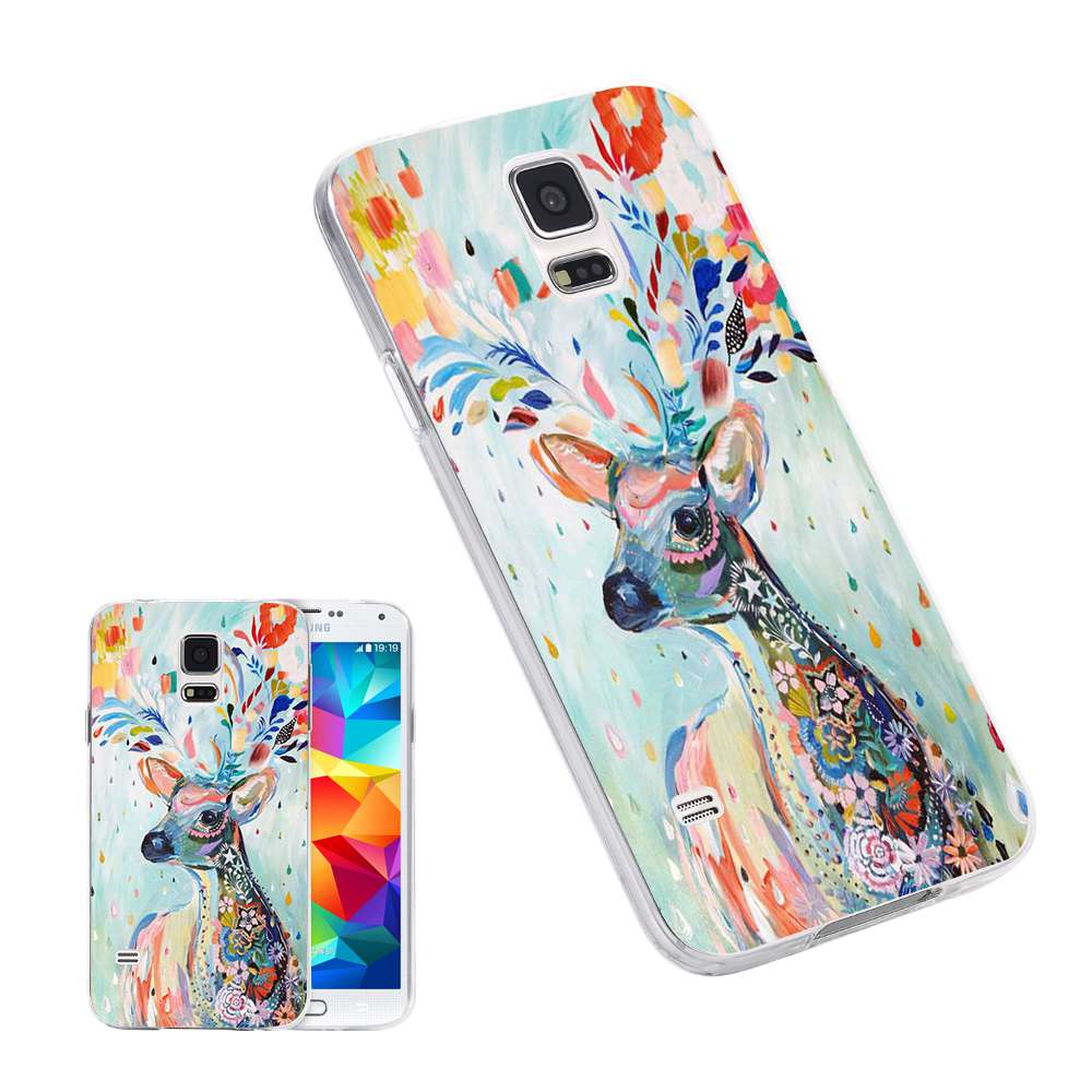 Hot Sell Colorful Deer Animal Phone Cases for iPhone 7 6 6S Plus for Samsung S6 S7 Edge Transparent Soft TPU Silicon Back Cover