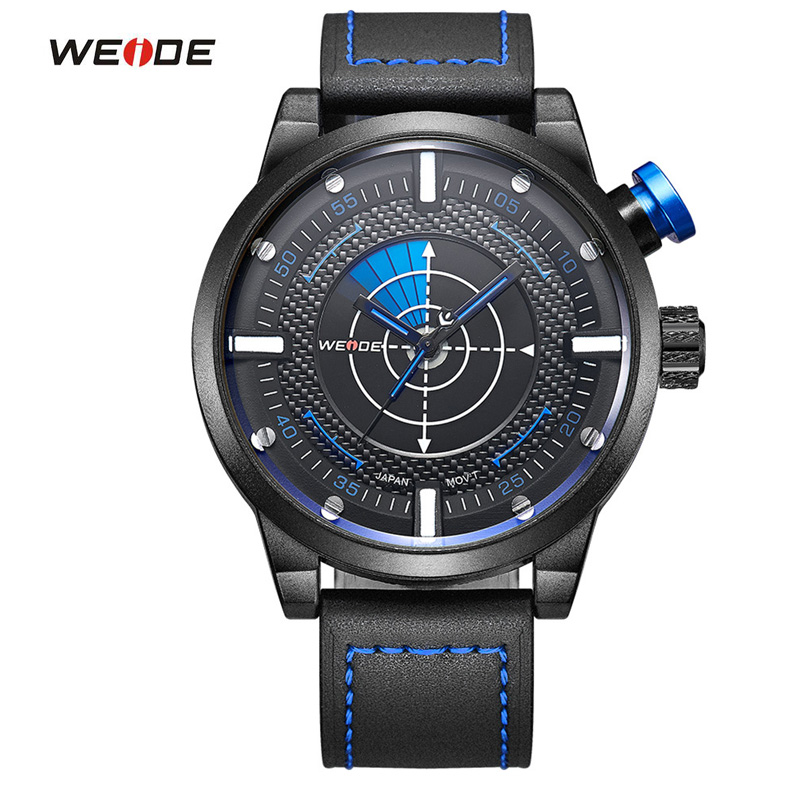 WEIDE Luxury Brand New Arrival Fashion Quartz Casual Watch Mens Leather Strap Analog With Flash Waterproof Men Wristwatches(China (Mainland))