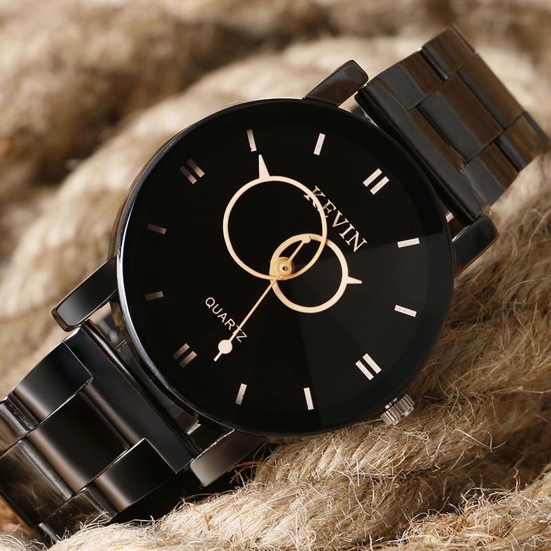 KEVIN Casual Bracelet Quartz Business Wrist Watch Women Sport Two Circles Black Stainless Steel Band Strap Ladies