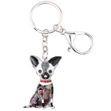 Bonsny esmalte chihuahuas cão chaveiro chaveiro pom presente para as mulheres menina saco pingente 2017 novo charme chaveiro moda jóias(China)