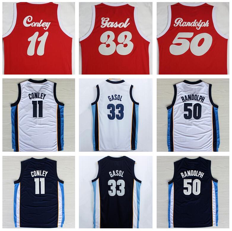 Wholesale Men's 11 Mike Conley Jersey 50 Zach Randolph 33 Marc Gasol Basketball Jerseys 1970 Sounds Red Navy Blue White Shirt(China (Mainland))